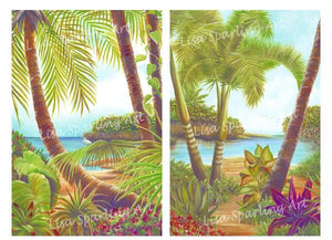 """Tropical Lagoon I & II"" Pair of Giclée Reproductions"