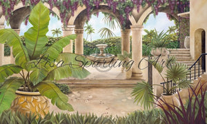 Tuscan Courtyard Giclée Reproduction Lisa Sparling Art, Tropical, artwork, wall art, home decor
