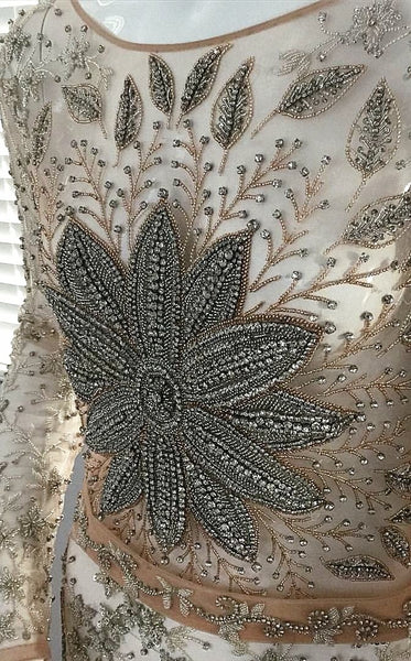 VA 7751 - Embellished - Long sleeved hand beaded tulle Gown full of Crystals