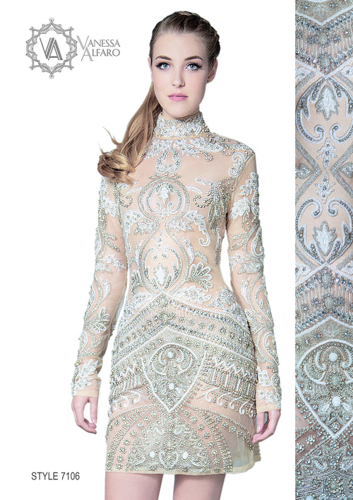 Long-sleeved, embellished - hand beaded short dress