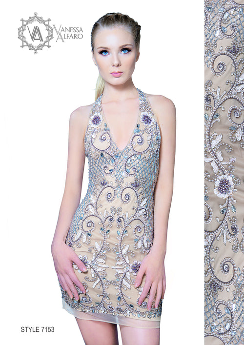 Halter neck embellished - hand beaded short dress