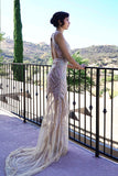 Embellished - Sleeveless hand beaded tulle Gown