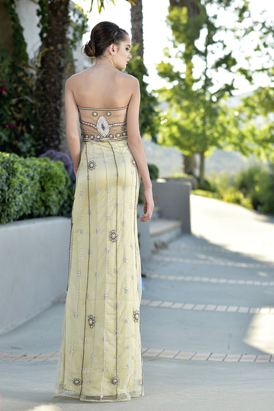 Embellished - Strapless hand beaded tulle Gown