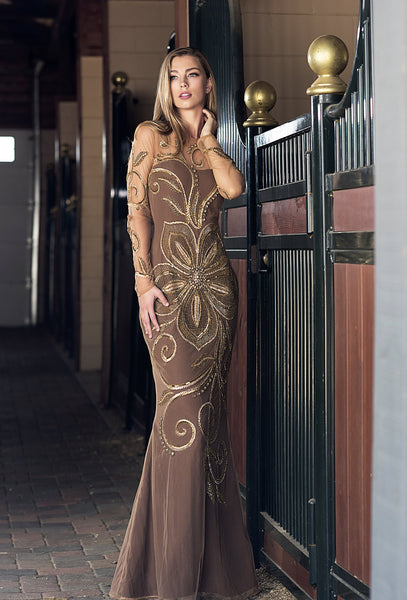 VA 7599 - Embellished - Long Sleeved hand beaded Crepe Gown