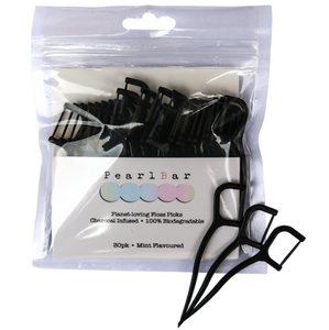 PearlBar Charcoal-Infused Floss Picks (30 picks)