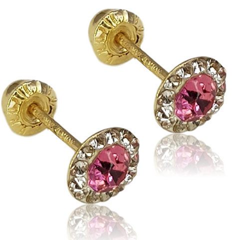 BROQUEL 10K CRISTAL FROM SWAROVSKI ELEMENTS ROSA
