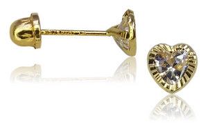 BROQUEL 14K CORAZON MINI
