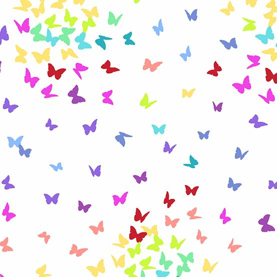 AF Rainbow Sprinkles White Rainbow Butterflies A 9425 L