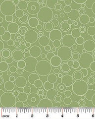 Benartex Poppy Panache Green Circles  0062844B