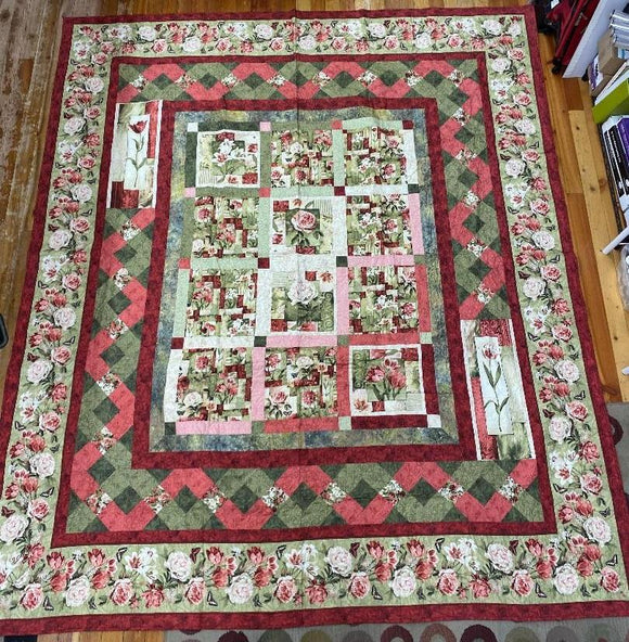 Blossoms and Garlands Finished Quilt 98x112