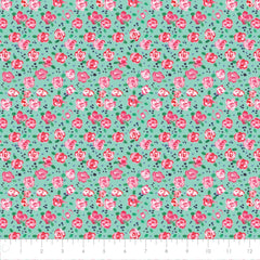 Camelot Fabric City Girl Flower Market Aqua 26180105J 03 AQUA