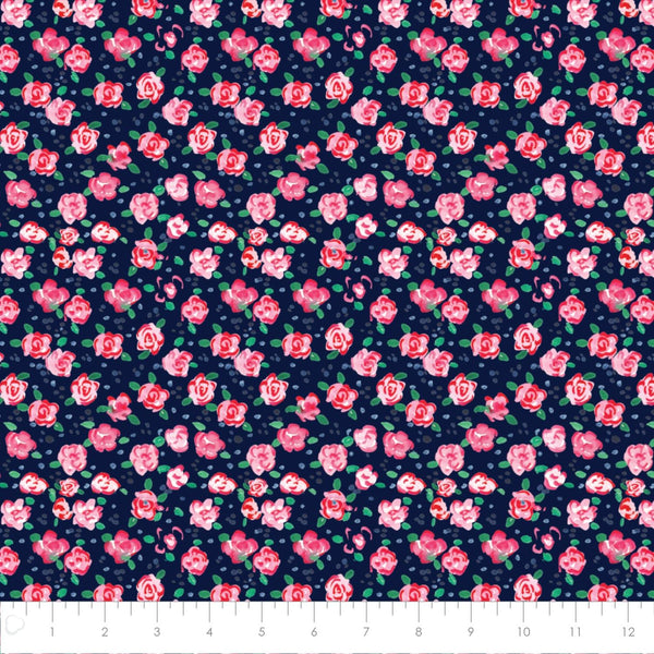 Camelot Fabric City Girl Flower Market Navy 26180105J 01 Navy