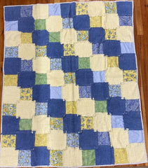 Chenille Rag Finished Quilt 73.5x65