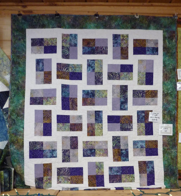"Fractions-Batik-light has purple dots Approx. 53.5"" x 69.5"""