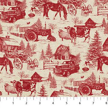 NF Vintage Christmas Christmas Toile 23549 24 RED