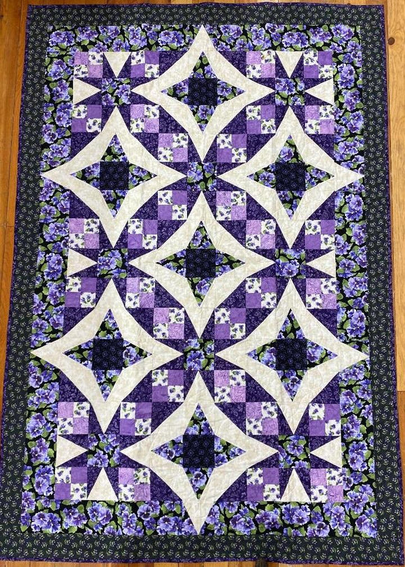 Pansy Fun Finished Quilt 72x48