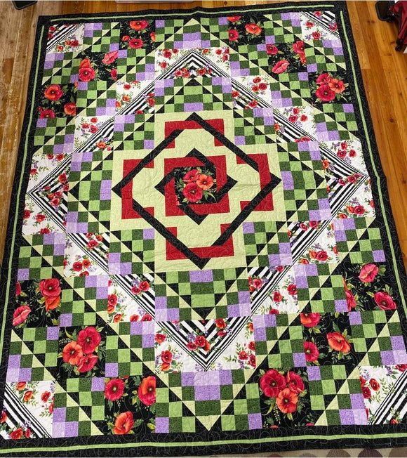 Poppy with Purple and Green Finished Quilt 85.5x105