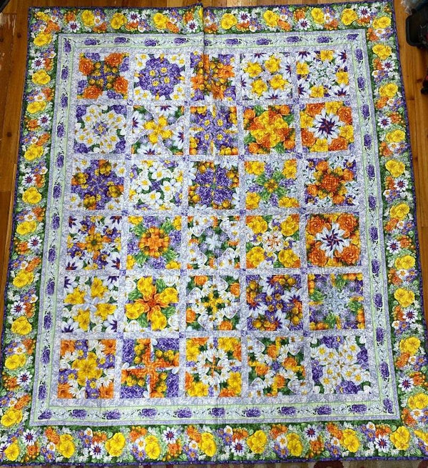 Stack and Wack Flower Finished Quilt 85x73