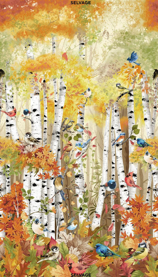 TT Birds in Birch Trees Multi PANEL-CD7408