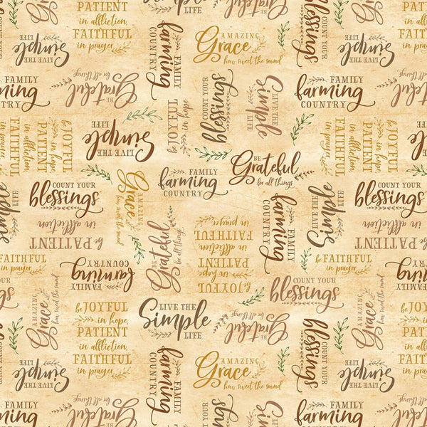 Wilmington Prints Farmstead Gold Words 82562-528