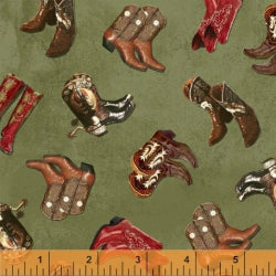 Windham Fabrics American Cowboy Whistler Studios Boots Green 39675 3