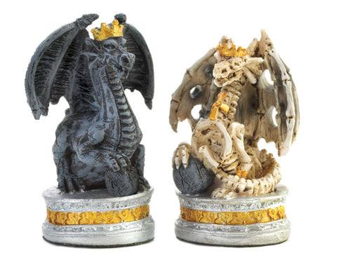 Closeup of the Dragon Chess Pieces in our Themed Chess Set