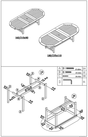 Oval Dining Table Diagram for assembly