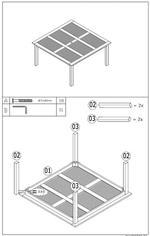 Assembly diagram for square dining table