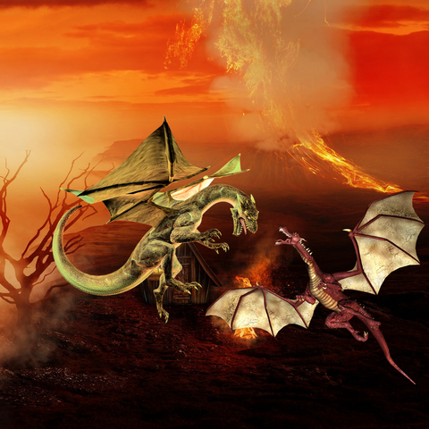 Dragons battling above a stream of flames