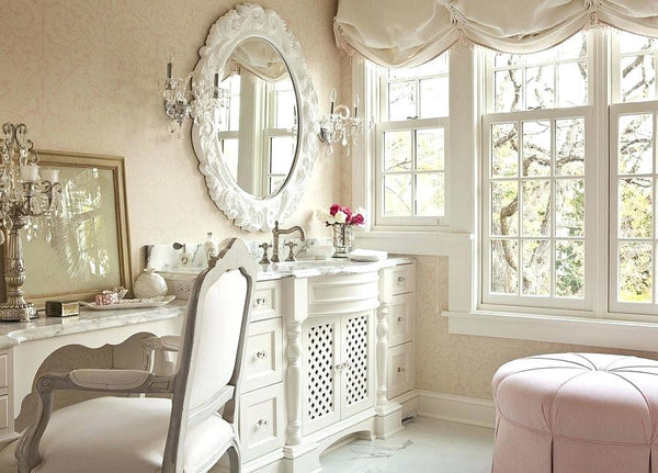 Shabby chic interior in light creamy hues