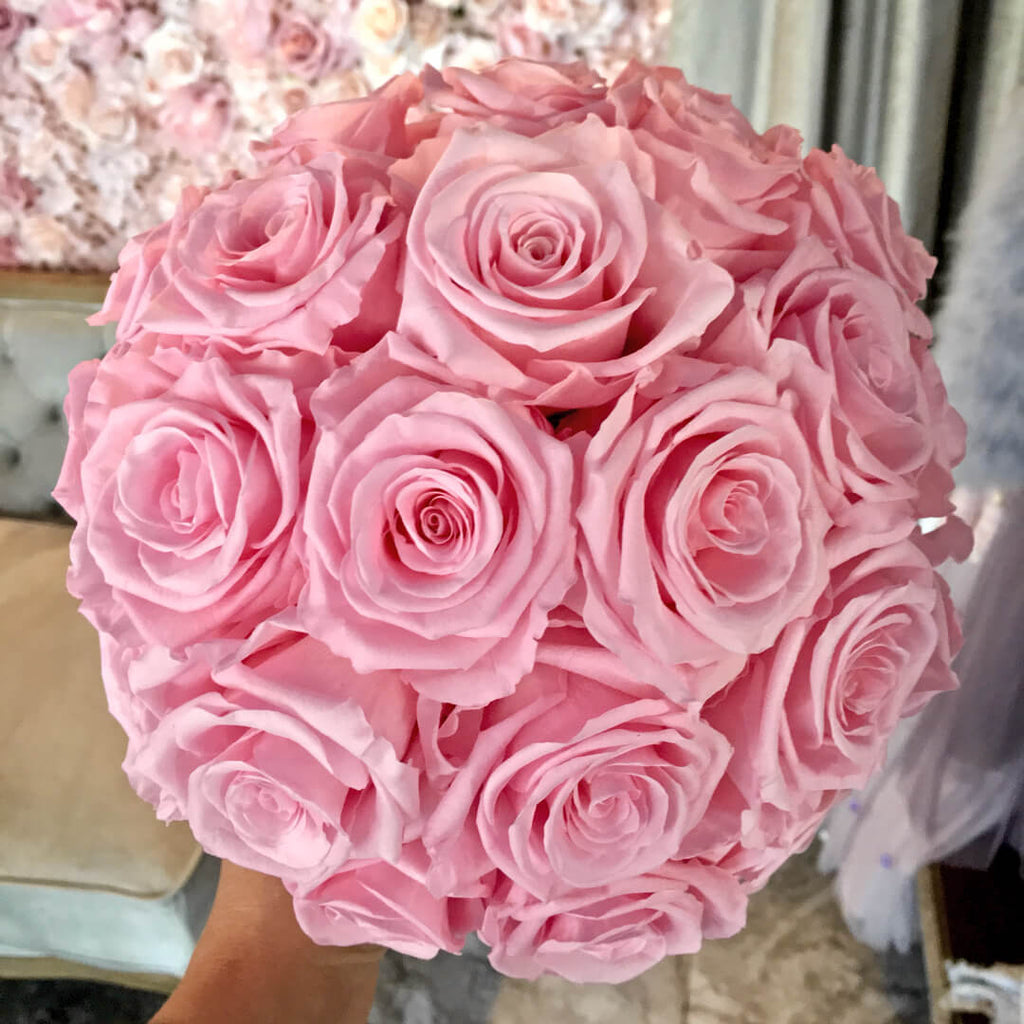 Bridal bouquet of pink preserved roses