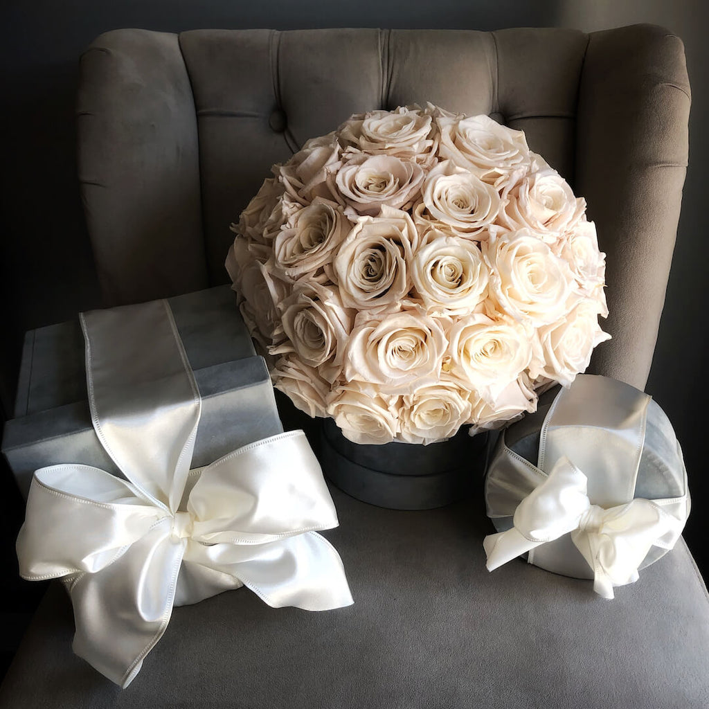 Pale Pink Preserved Roses in a Grey Velvet Box
