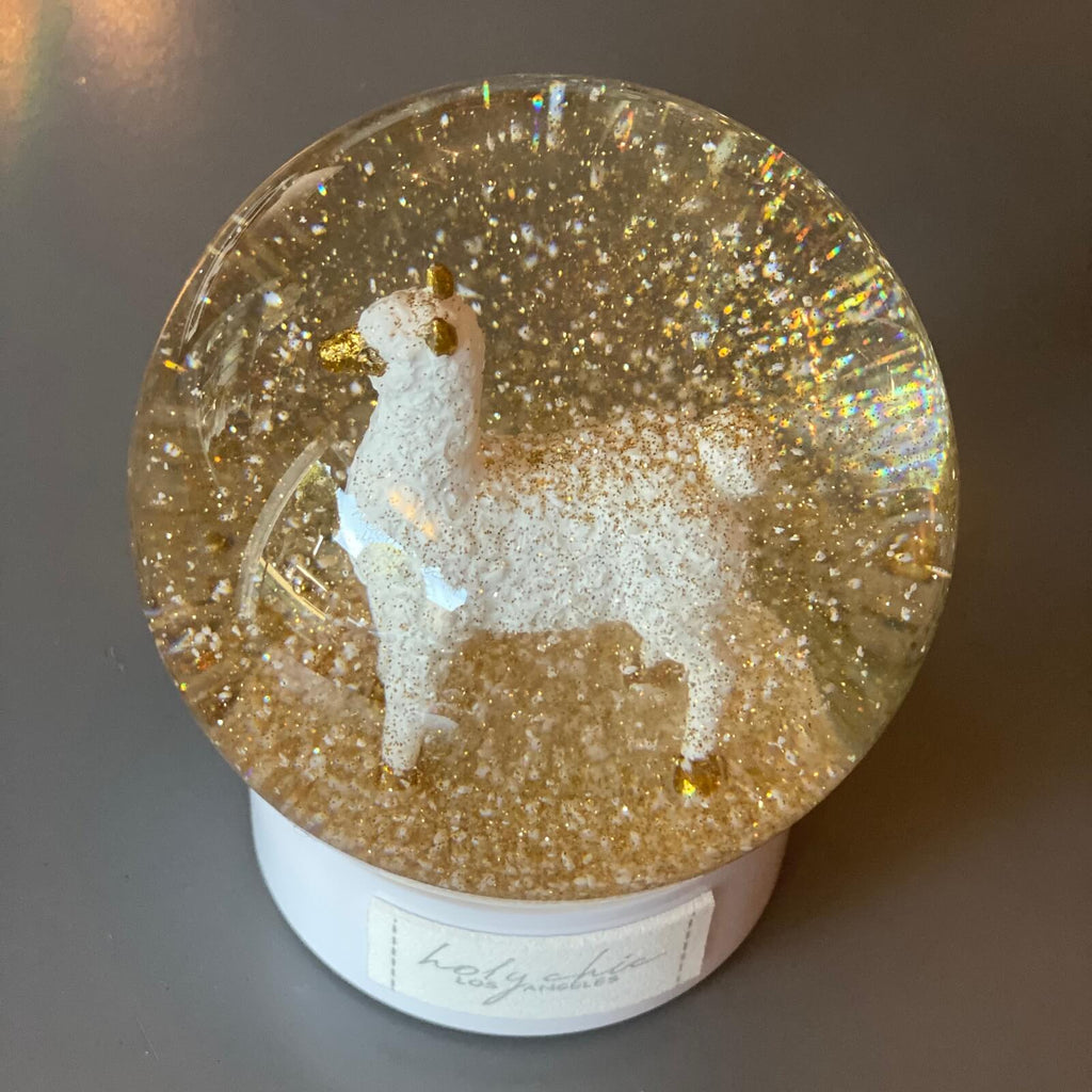 Christmas Snow Globe with White Lama and Golden Snow