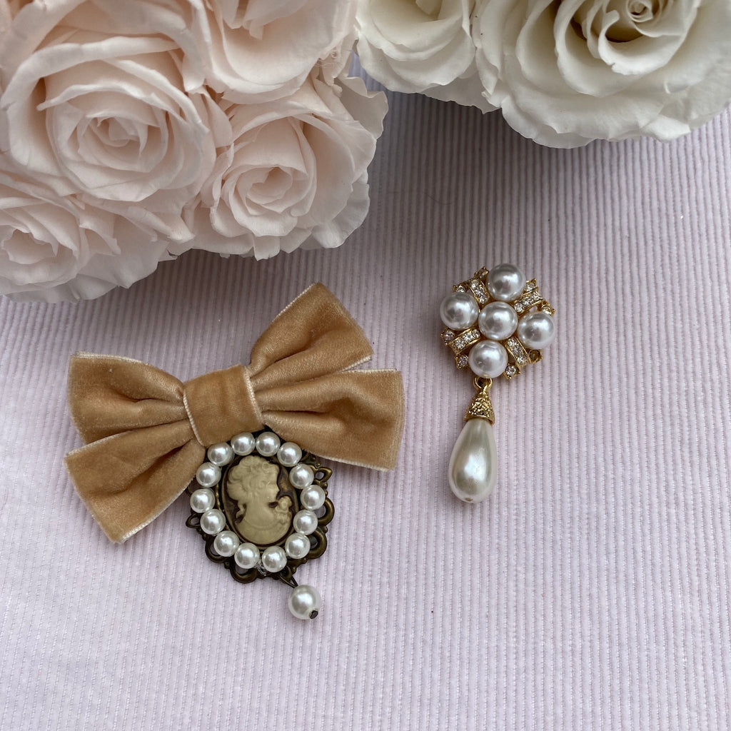 Rhinestone with Pearl Drop Vintage Brooch