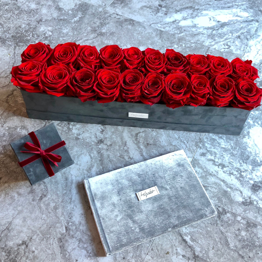 Preserved Roses in a rectangular velvet box