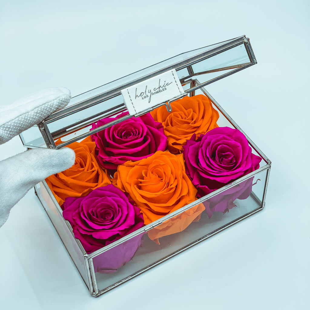 Jewelry Glass Box with Raspberry and Canary roses