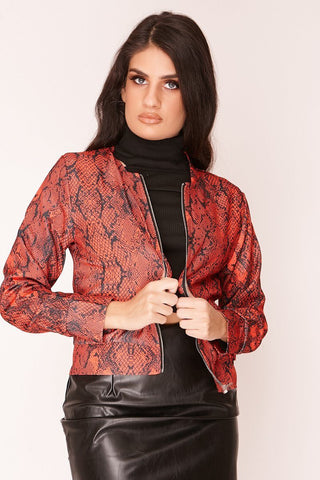 Red Snake Print Zip Jacket - Shop IB
