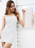 Simple strap polka dot sleeveless dress for women . - Shop IB