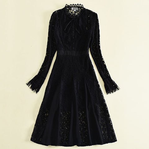 Kate Middleton Type Spring/Summer Hollow Out Vintage Lace Long Sleeved Dress - Shop IB