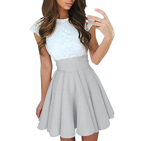 Womens Lace Party Cocktail Mini Dress Summer Casual Dress Short Sleeve Elegant Dresses - Shop IB