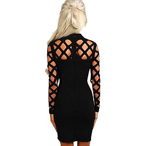 Womens Choker High Neck Caged Sleeve Hollow Ladies Mini Party Dress Black - Shop IB