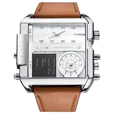 Men's Brown Square Digital Electronic Genuine Leather Watch - Shop IB