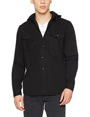 New Look Men's Hooded Twill Hoodie, Black, Small (Manufacturer Size: 51) - Shop IB