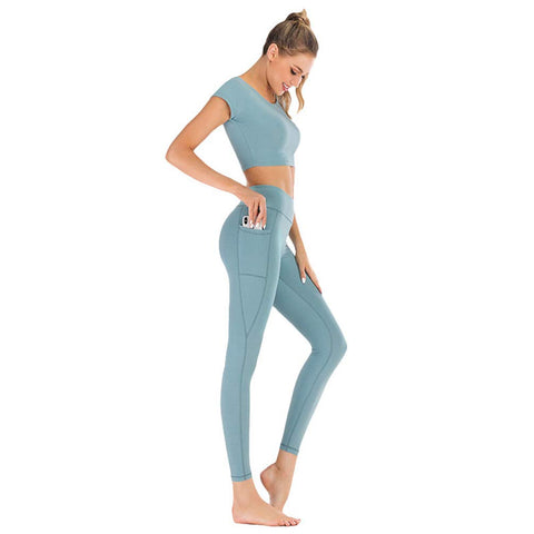 Xinwcang Women's Sportswear Wear/Top & Leggings (2 Piece Set Top & Leggings) Stretch-Fit Yoga Gym Wear Set Gray Blue L - Shop IB