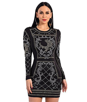 Missord Women's Polyester Long Sleeved O Neck Silver and Gold Studded Velvet Dress Black Large - Shop IB