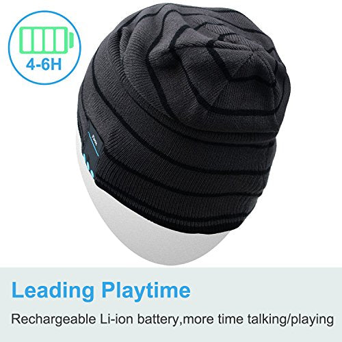 Rotibox Bluetooth Beanie Music Soft Warm Hat Cap with Wireless Headphone Headset Stereo Speaker Mic Hands-free,Best Birthday Christmas Gift for Winter Outdoor Sport Skiing Snowboard Hiking- Gray - Shop IB