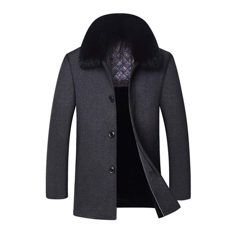 YOUTHUP Mens Coats Casual Wool Winter Jackets Thick and Warm Trench Coat with Detachable Faux Fur Collar,Grey 1703, L - Shop IB