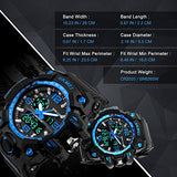 Mens Sport Electronic Digital Watch, Males Lights LED Cool Fashion Design Watches Durable Analogue Large Military Casual Waterproof Wristwatch - Blue - Shop IB
