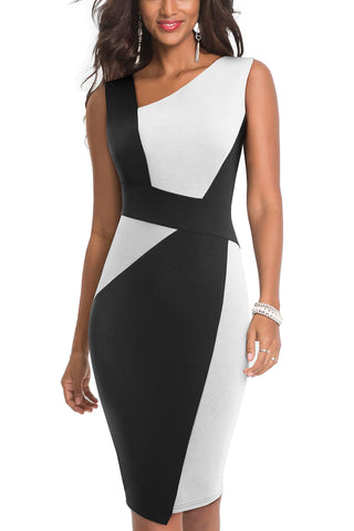 HOMEYEE Women's Vintage Sleeveless Contrast Color Stretch Business Dress B517 (UK 16 = Size XXL, White + Black) - Shop IB