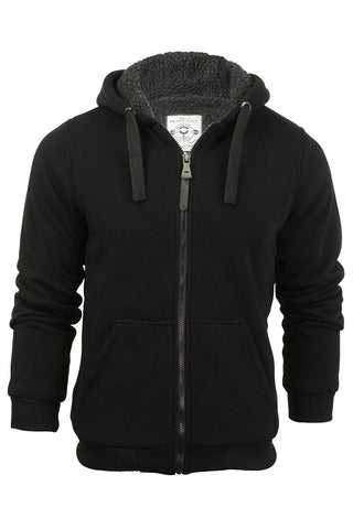 Mens Brave Soul Zone Sherpa Lined Zip Up Hooded Jacket, Black, X-Large - Shop IB